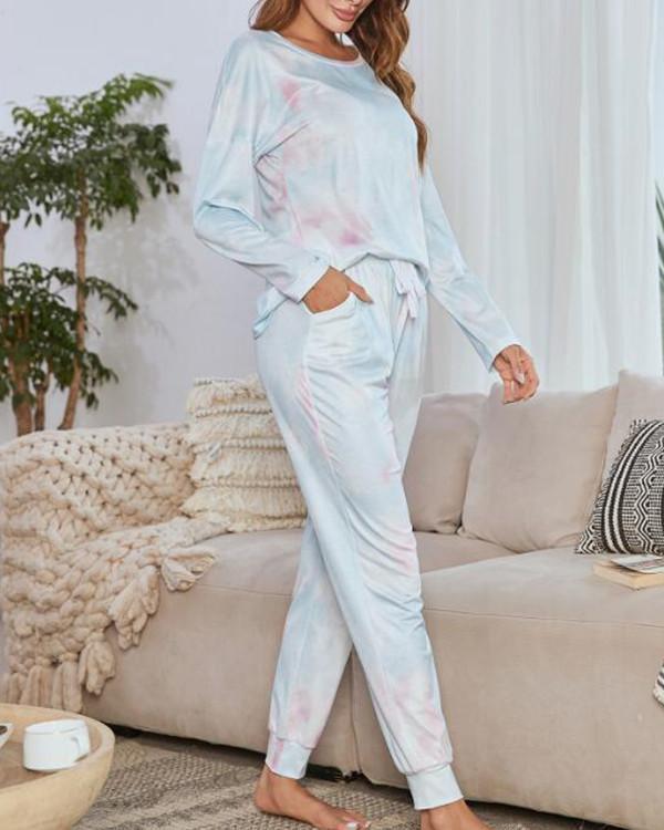 Comfy Tie Dye Lougewear Long Sleeves Top And Pants Sets