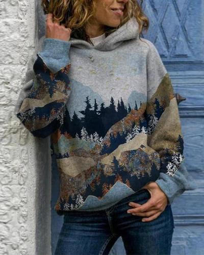 Women Print Casual Long Sleeve Loose Hoodies