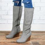 Long Calf Wedge Boots