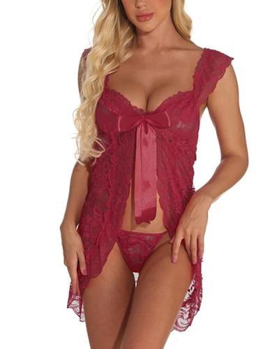 Women's Lace Backless Mesh Suits Nightwear