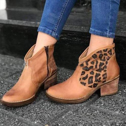 Women Slip On Leopard Printed Boots