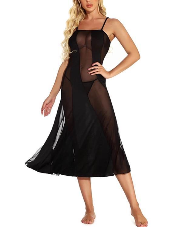 Women's Mesh Suits Nightwear Solid Colored Black