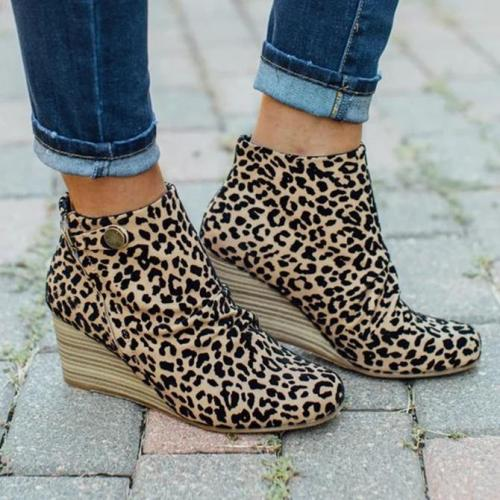 Artificial Leather Button Block Heel Boots