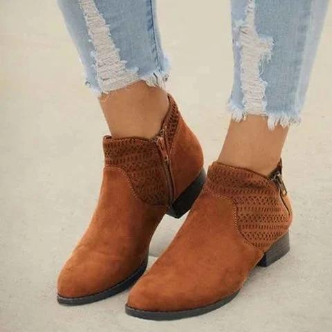 Block Heel Artificial Leather All Season Boots