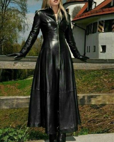 Womens Winter PU Leather Slim Fit Long Coat
