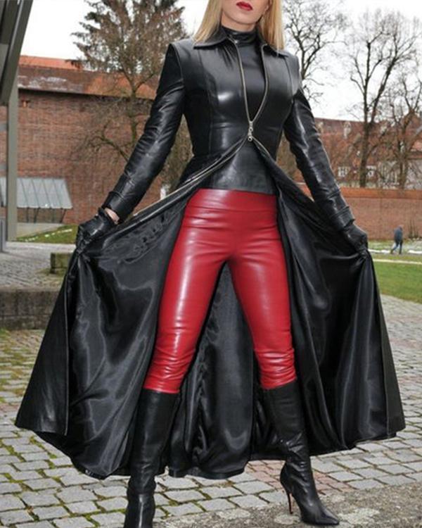 Womens Fashion PU Leather Slim Fit Long Jacket