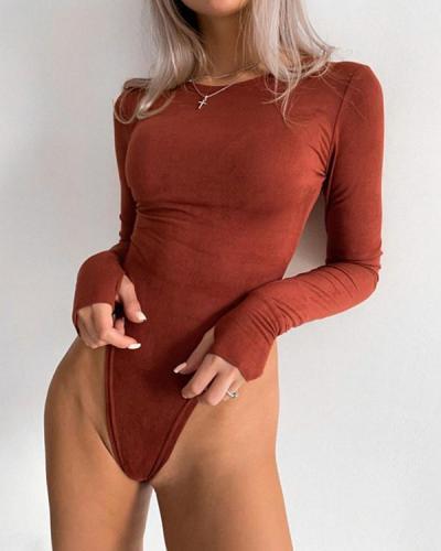 Women Sexy Long Sleeve Bodysuit Autumn Rompers Tops