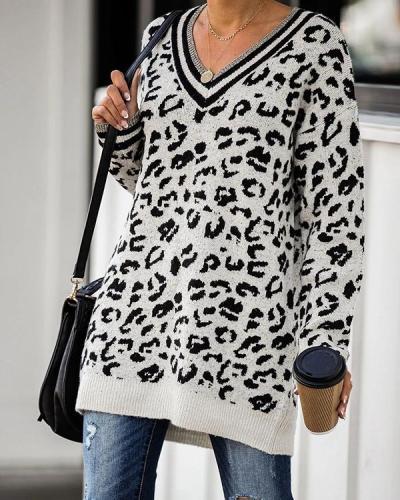 V-Neckline Leopard Knit Casual Long Sweaters