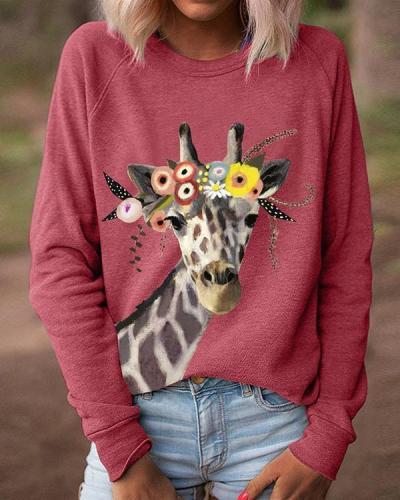 Women Giraffe Floral Print Long Sleeves Casual T-Shirts