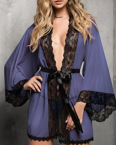 Women Sexy Satin Lace Trim Sleepwear