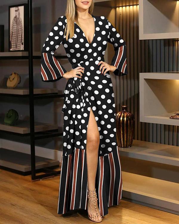 Sexy Polka Dot/Leopard/Letter/Flower Print Wrap V-Neckline X-line Dress