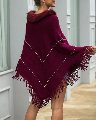 Pullover Patchwork Fur Collar Tassel Cape Women Winter Knitted Loose Cloak Boho Sweaters