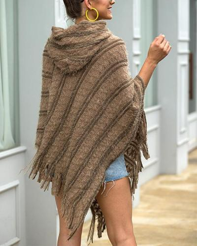 Tassel Cloak Batwing Sleeve Knit Striped Sweater