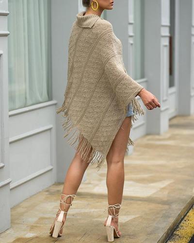 Autumn/Winter Knitted Cloak Sweater Women Loose Warm Tassel Shawl Cloak