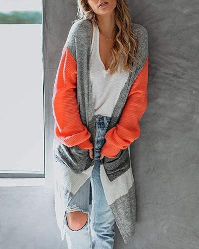 Fashion Straight Color Block Knit Sweater Cardigan Long Coat