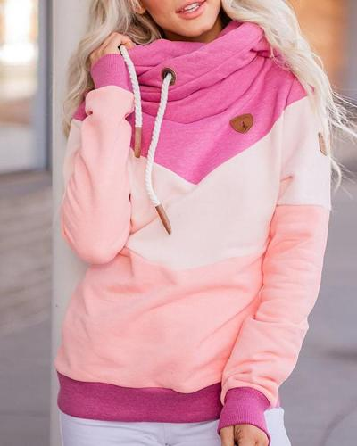 Casual Long Sleeves Patchwork Sweatshirt