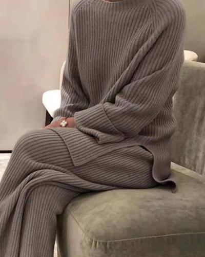 Casual Loose Loungewear Knit Top&Pants Set