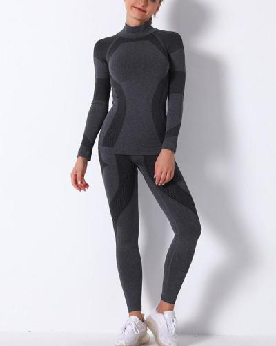 Gym Mesh Breathable Seamless Long Sleeve & long Leggings Sets