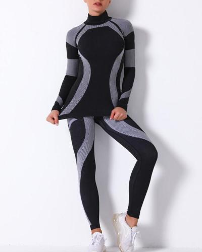 Sport Mesh Breathable Seamless Long Sleeve & long Leggings Sets