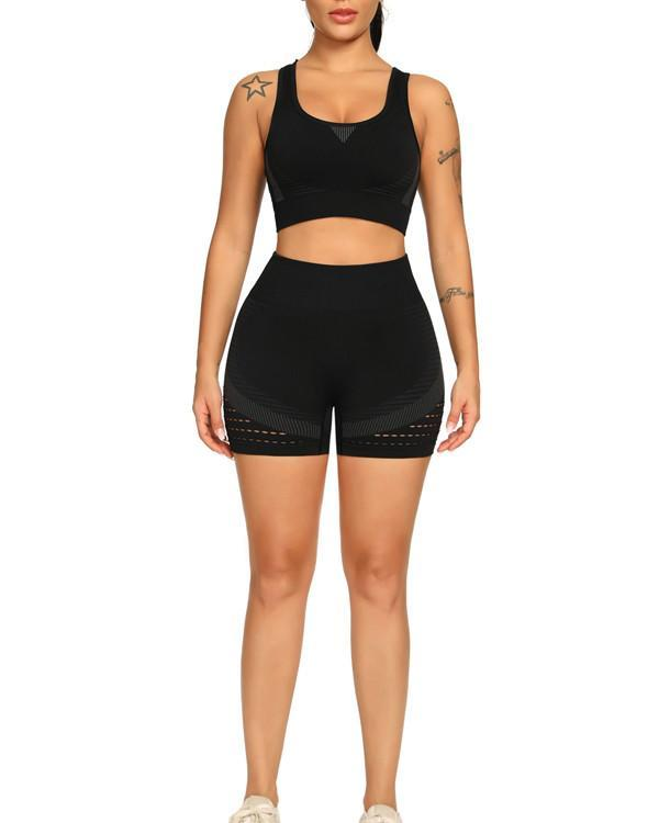 New Sport Breathable Seamless Sports Suit Round Neck