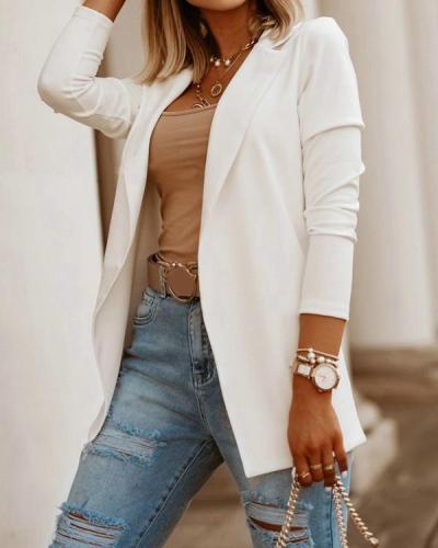 Fashion Solid Long Sleeve Blazer