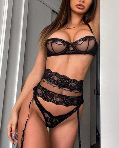 Sexy Black Lace Lingerie 3 pcs Set