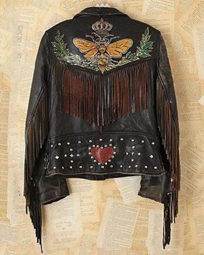 Women Vintage Print Long Sleeve Outerwear