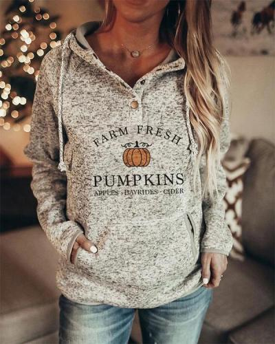 Women's Halloween  Pumpkins Printed Long Sleeve Hoodie