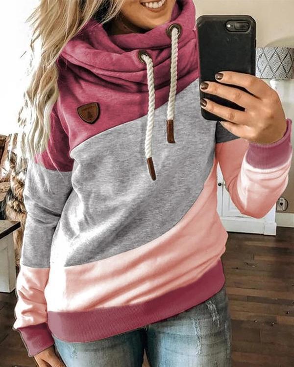 Long Sleeve Hooded Color-block Sweatshirt