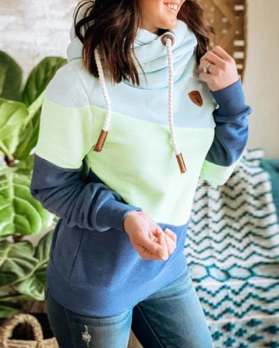 Blue Hoodie Paneled Long Sleeve Solid Sweatshirt