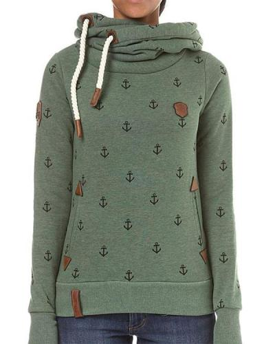 Patchwork Cotton-Blend Casual Hoodie Sweatshirt