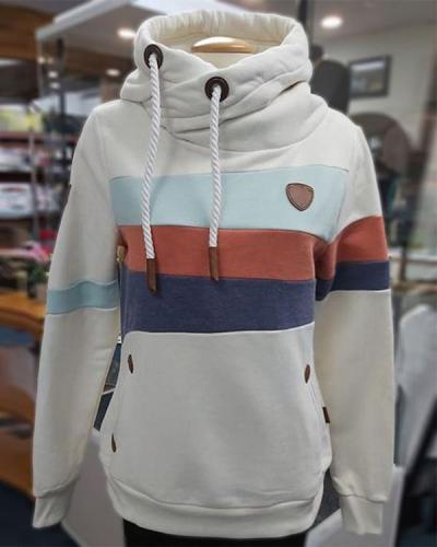 White Hooded Color-block Long Sleeve Sweatshirt