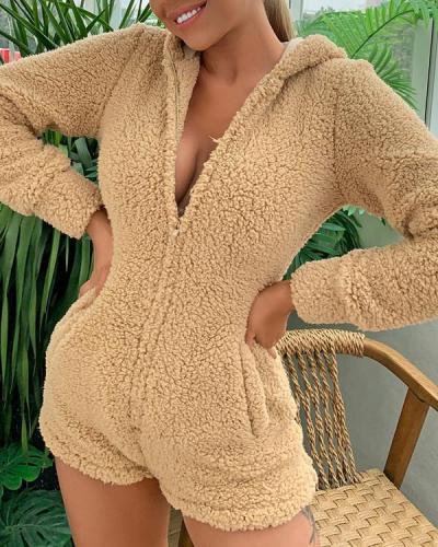 Bear Ears Warm Pajamas Rompers Hoodie Sleepwear
