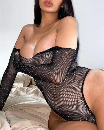 Sparkle Black Bright Rhinestone Teddy Sexy