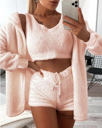 Fashion Casual Long Sleeve V Neck Regular Sleeve Solid Three-piece Set