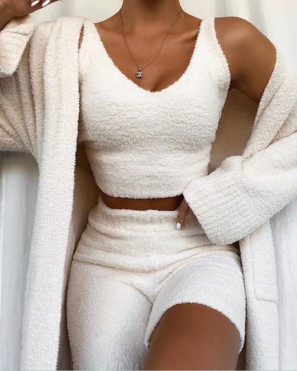 Super Soft Knit Pajamas Homewear Vest+Shorts
