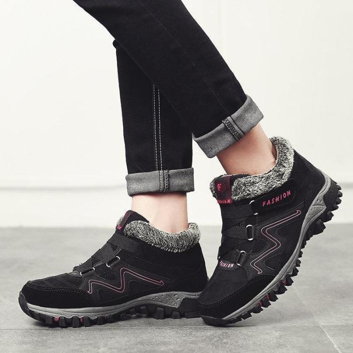 Women Comfy Warm Suede Hook Loop Ankle Boots