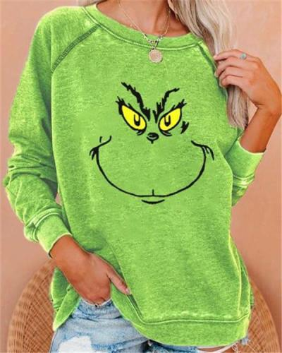 Green Graffiti Crew Neck Long Sleeve Sweatshirt