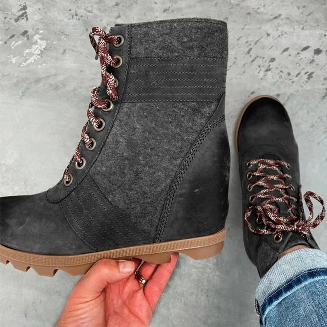 Block Heel Artificial Leather Daily Lace-Up Boots