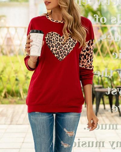 Leopard Heart Print Long Sleeve Sweatshirt