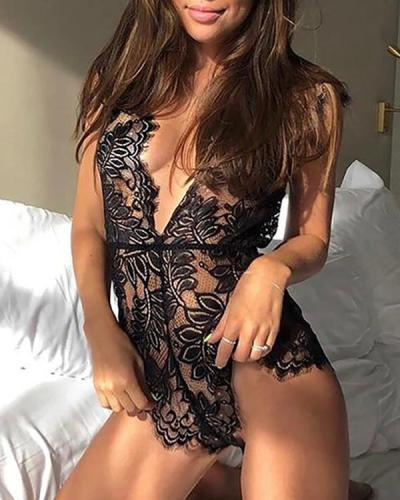 Black Lustful Kiss Lacy Teddy Sexy Lingerie