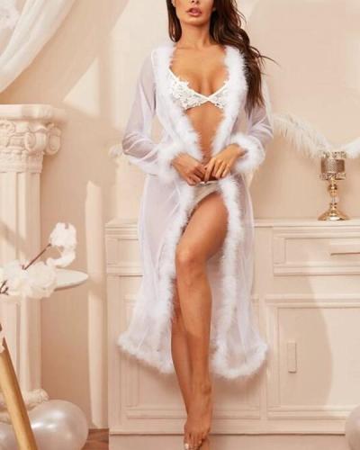 Sexy Mesh Faux Fur Trim Sheer Robe