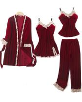 Velvet Lace Trim 4PCS Sleepwear Sets