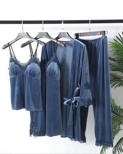 Velvet Print lace Trim 4PCS Sleepwear Sets