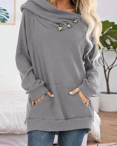 Asymmetry Button kangaroo Pocket Hoodie