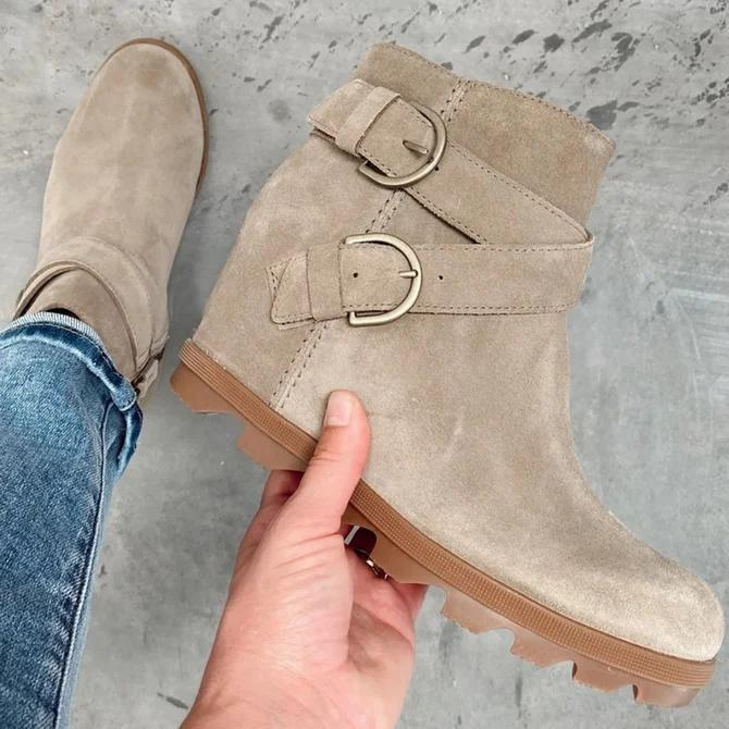 Artificial Leather Buckle Boots