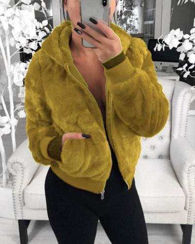 Women Winter Teddy Bear Fluffy Short Coat Fleece Fur Zipper-up Jacket