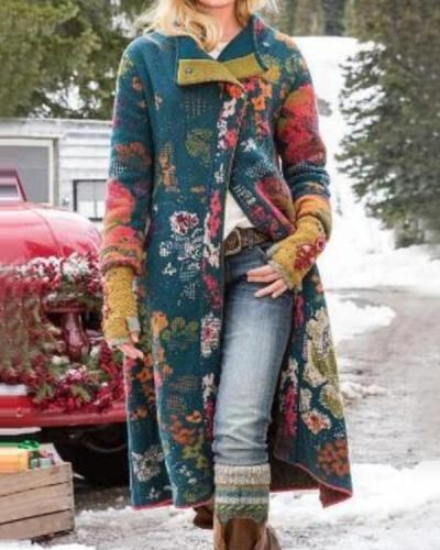 Women's Casual Print Long Coat