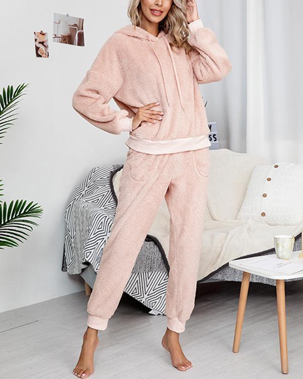 Women Solid Color Long Sleeve Hoody Loungewear