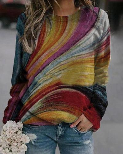 Colorful Printed Polyester Crew Neck Sweatshirts